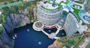Как выглядит гигантский отель под землей в Китае